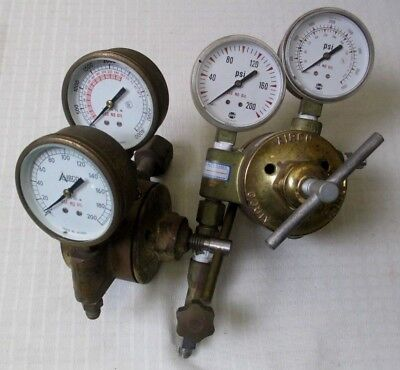 2 Sets Of Airco Reduction Regulator Acetylene Gauges - 200 - 400 Psi