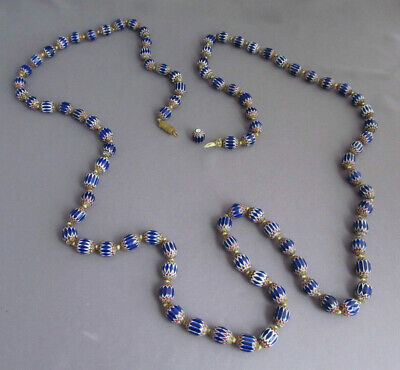 """ANTIQUE ITALY VENETIAN PORCELAIN BRASS CAPPED CHEVRON OVAL EGG BEAD NECKLACE 47"""""""