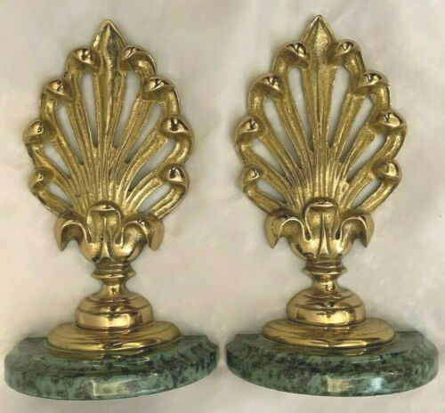 """LACQUERED Goldtone 5X8.5"""" Metal Book Ends - Lot of 2"""