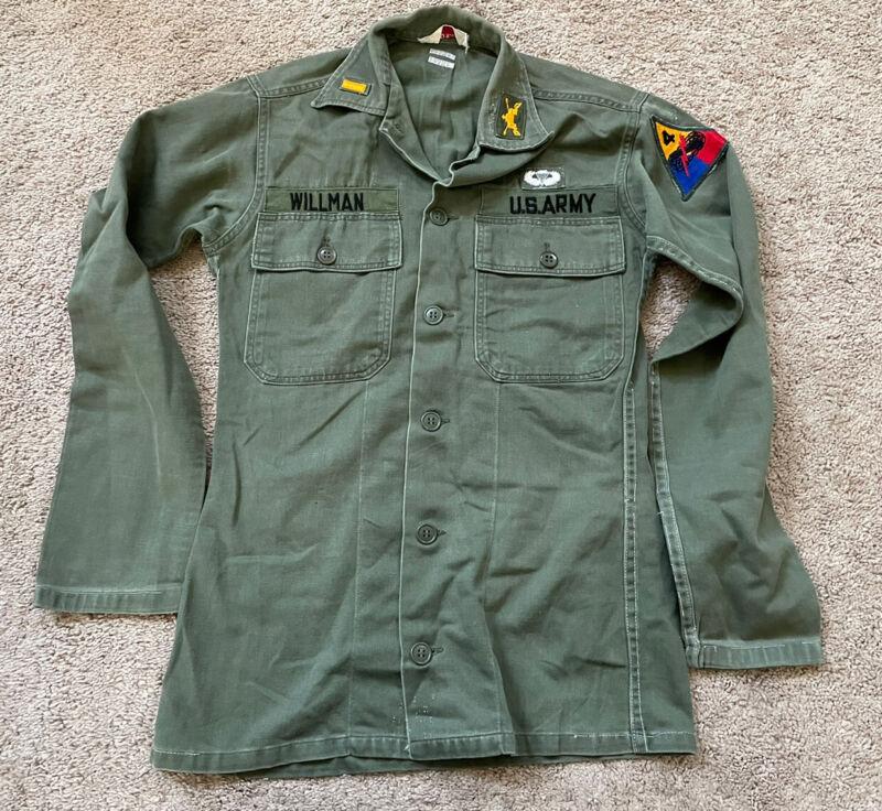 Vietnam War US Army 4th Armored Officer Sateen OG107 Shirt Small Fatigue