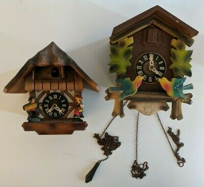 Pair of 2 Cuckoo Clock E Schmeckenbecher West Germany Regula FOR PARTS REPAIR
