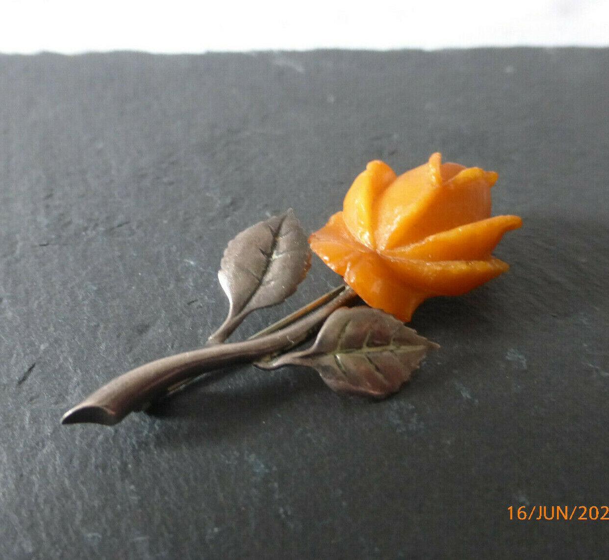 SBM Butterscotch Bernstein Brosche 935 Silber aus Königsberg Rosenblüte,