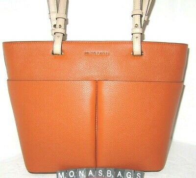 Michael Kors Bedford Top Zip Medium Pocket Tote Burnt Orange Pebble Leather