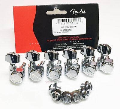 "Genuine Fender LOCKING 6-In-Line Strat/Tele ""F"" Logo Tuners/Machines - CHROME"