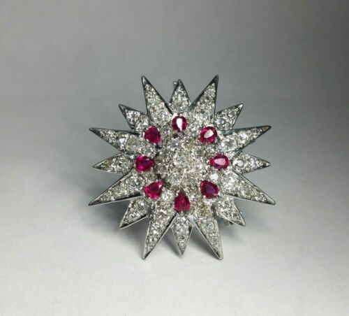 Edwardian 4.0ct Natural Ruby 9.5ct Rose-Cut Diamonds 18k Gold Brooch Pendant