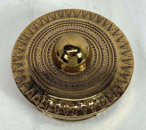 Vintage South Asian Brass Etched Tawak Tawak Gong