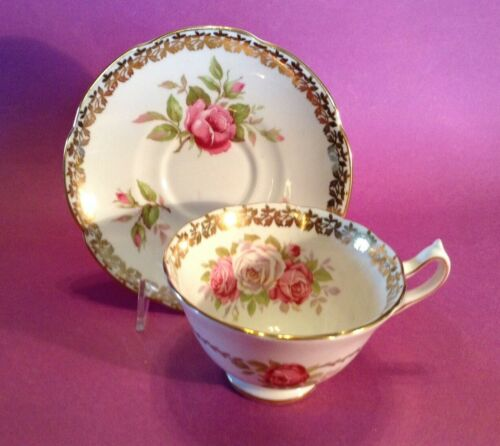 Collingwoods Teacup And Saucer  - Pink And White Roses & Gold Accents - England