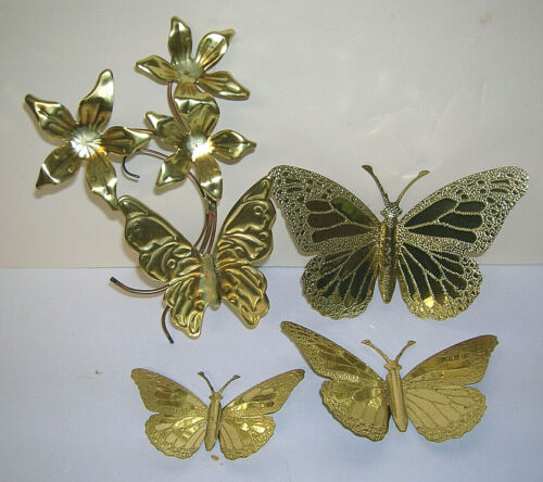 Home Interior HOMCO Brass Colored Butterfly Set and Butterfly on Flowers Metal