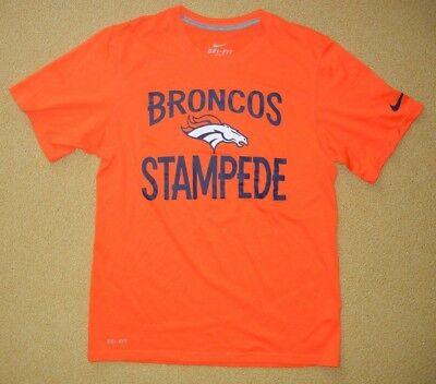 Nike DENVER BRONCOS Fan Bright Orange Stampede NFL FOOTBALL T-SHIRT Sz Men SMALL