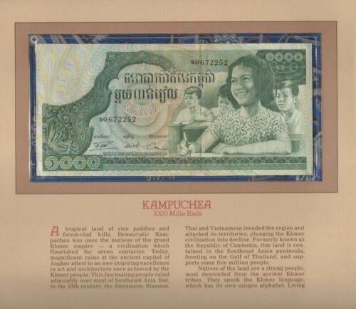 Most Treasured Banknotes Cambodia P 17 1973 1000 Riels AUNC Prefix ឍ១