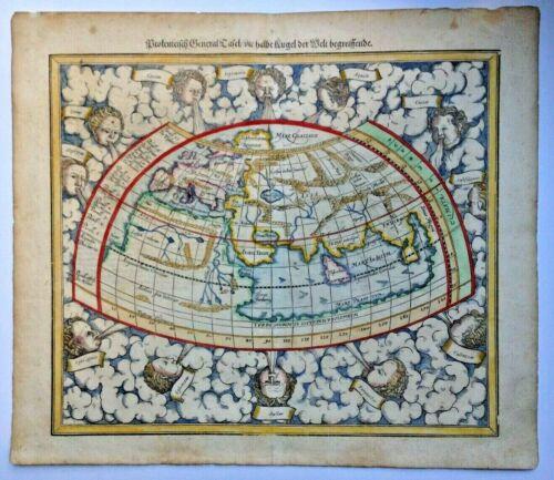 MUNSTER SEBASTIAN 1598 WORLDMAP ACCORDING TO PTOLEMY ANTIQUE MAP 16TH CENTURY