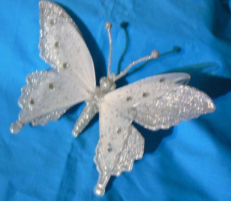"""SILVER AND WHITE GLITTERED BUTTERFLY ORNAMENT 7"""" CHRISTMAS WEDDING SPRING"""