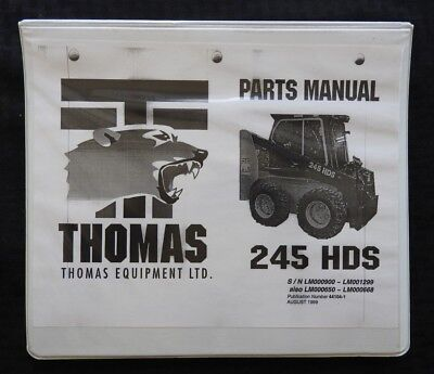 Genuine Thomas T245 245 Hds Skid Steer Loader Tractor Parts Catalog Manual Minty