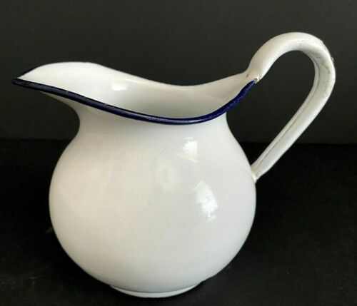 "Vintage Small White Enamel Pitcher With Navy Blue Rim 4.5"" Tall"
