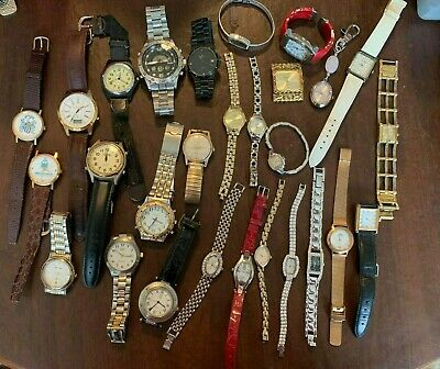 Lot of 28 Assorted Watches for parts or fix Ladies & Men's Vintage/New
