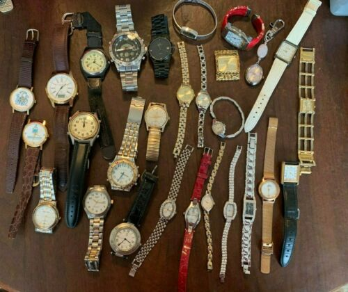 Lot of 28 Assorted Watches for parts or fix Ladies & Men