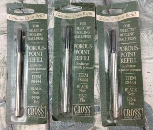 Lot Of 3 Genuine Cross Refills Item # 8444 Black Fine