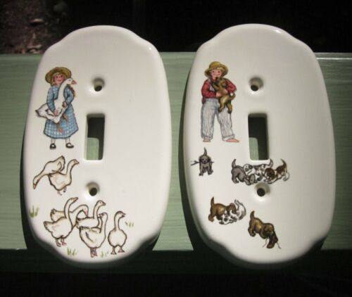 2 Light Switch Wall Plates Farmers with Ducks Dogs for Nursery Playroom Vintage