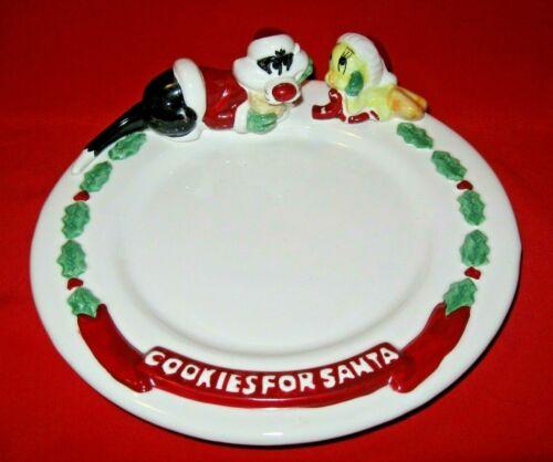 Vintage CHRISTMAS COOKIES FOR SANTA PLATE - SYLVESTER & TWEETY BIRD - 1996