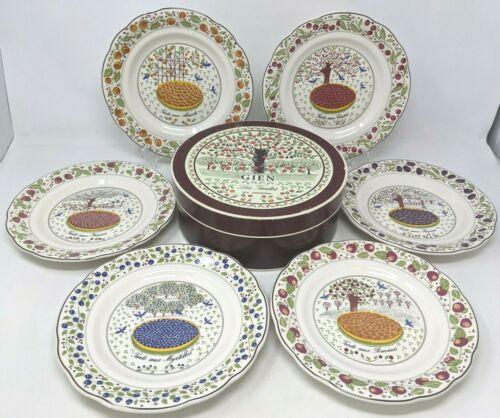 New Crate & Barrel Set of 6 Gien France Les Tartes Scalloped Dessert Plates GZ20
