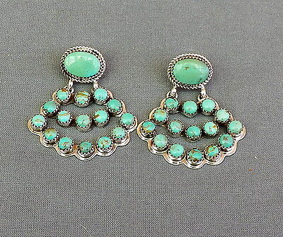 New Signed Navajo Handmade Sterling Silver Green Turquoise Dangle Earrings