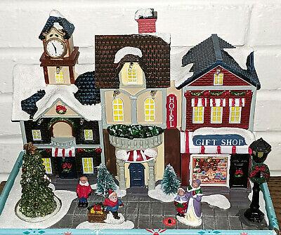 Vintage Animated Victorian Christmas Street Scene LED Lights Music Small Village