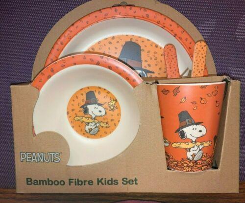 BAMBOO FIBRE KIDS 5 PIECE DINNERWARE SET - THANKSGIVING PEANUTS / SNOOPY