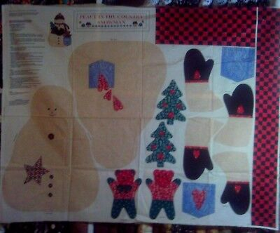 1 Yd Vtg Christmas Snowman Soft Sculpture Peace Country Fabric Panel Cut Out - Snowman Cut Out
