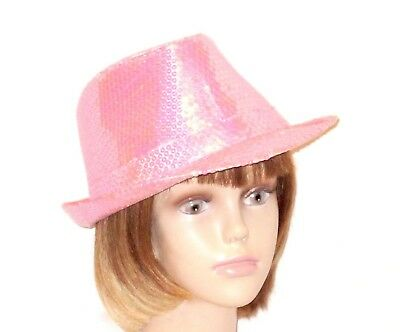 (Pink Sequin Fedora Trilby Society Hat Red Hat Ladies )