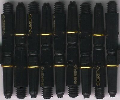 1.5in 2ba Black/Gold HARROWS SUPERGRIP Spinning Nylon Dart Shafts: 3 per set