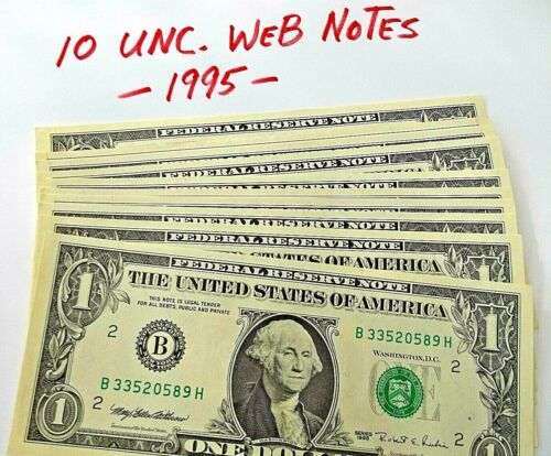 Lot of 10 RARE *Web Notes* 1995 BH 6/8 UNC
