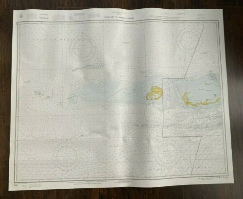 Vintage 1970 Florida Keys Sand To Rebecca Key Florida Nautical Maritime Map