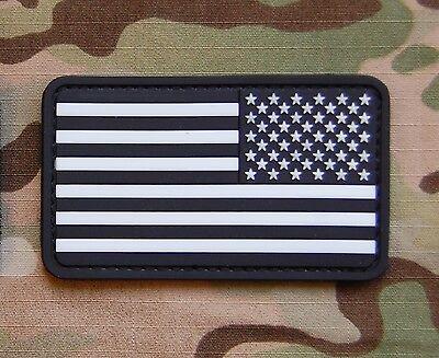 USA Stars & Stripes Reverse Flag Patch Glow In The Dark GITD PVC VELCRO® Brand