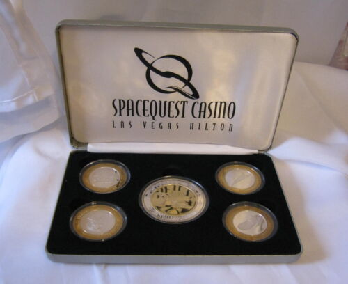 Hilton LV Spacequest Casino Limited Edition 5 Token Coin Set .999 Fine Silver