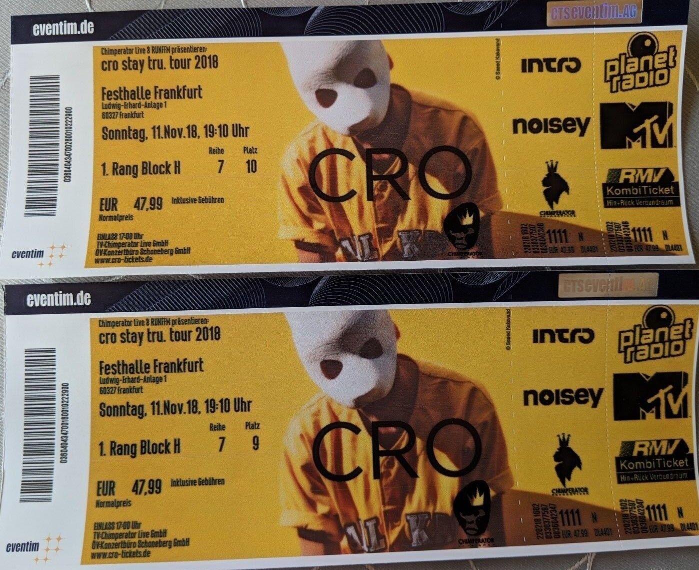 2 Konzert Tickets für Cro am 11.11.2018 in Frankfurt, Sitzplätze, FFM