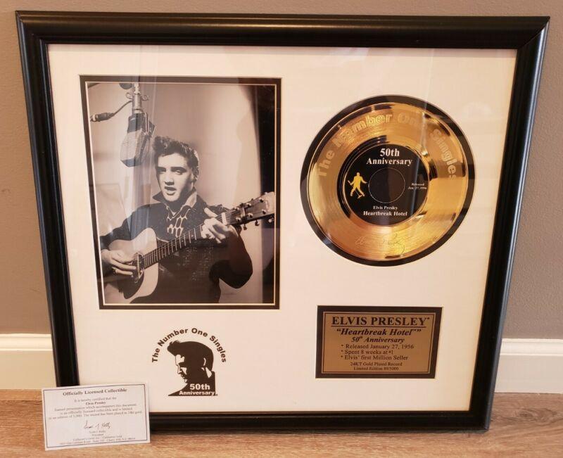ELVIS PRESLEY 24KT GOLD PLATED RECORD HEARTBREAK & Don