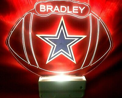 Dallas Cowboys NFL Night Light Personalized LED Plug In With Dusk to Dawn (Dallas Cowboys Nfl Light)