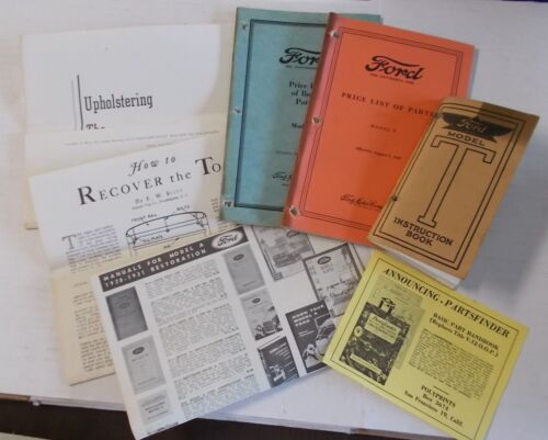 LOT Ford Model T Instruction Book, Price list of parts and Upholstering Guide