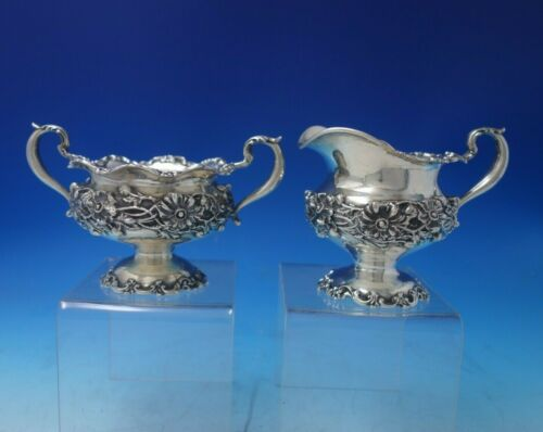 Repousse by Redlich and Co Sterling Silver Sugar Creamer Set 2pc #3999 (#5329)