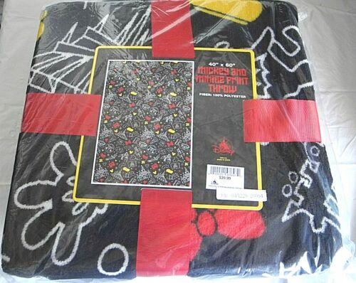 "Disney Parks Mickey & Minnie Park Icons Print Fleece 40"" x 60"" Throw Blanket NEW"