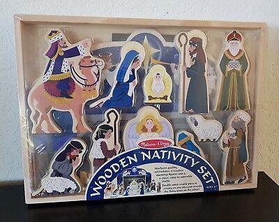MELISSA & DOUG Christmas Wooden NATIVITY Set 11 Figures & 4pcsStable NEW Sealed