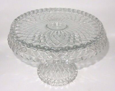 VINTAGE FOSTORIA CRYSTAL GLASS ROUND CAKE & PIE STAND WITH RUM WELL