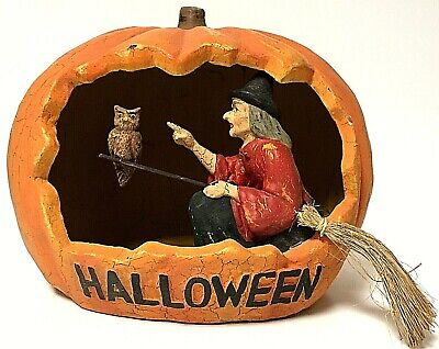 Rare Bethany Lowe Handcrafted Halloween Pumpkin Diorama Witch Decoration