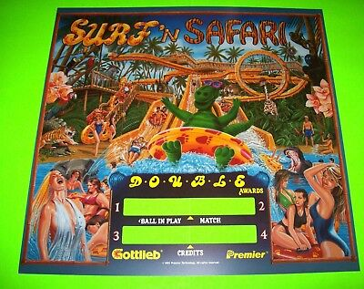 SURF N SAFARI Pinball Machine Translite Backglass Art 1991 Original NOS Gottlieb