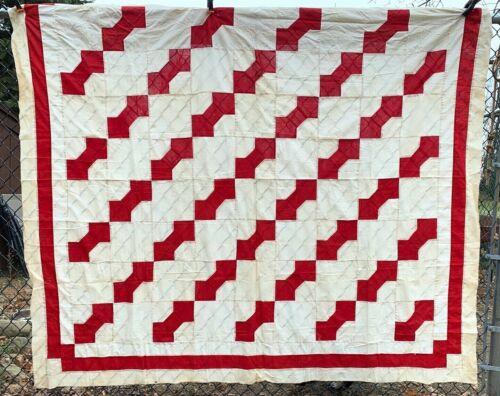 "Vintage Cotton Fabrics Turkey Red Bow Tie Quilt Top 74""X82"""