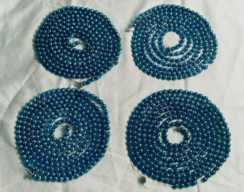"Vintage Mercury Glass Bead Garland BLUE 356"" 4 Stands Christmas Tree 29 Feet"