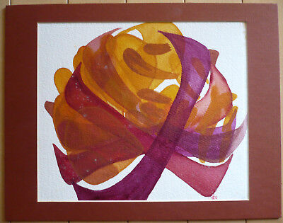 MYSTERY MODERN MODERNIST EXPRESSIONIST, COLLECTIBLE VINTAGE WATERCOLOR Red Brown