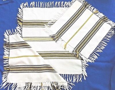 3 Hungarian Vintage RETRO White FRINGED WOVEN tablecloths Table top Centre Gift