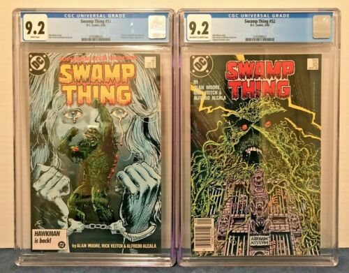 SWAMP THING 51 CGC 9.2 WP + 52 9.2 NS O-W/WP JC. 3RD APP. JLD, JUST. LEAG. DARK.