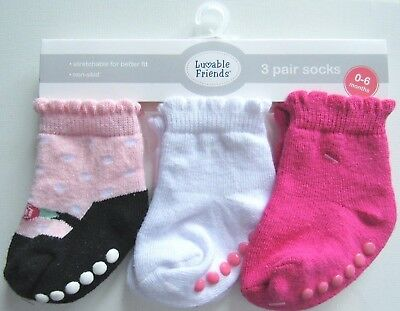 New Luvable Friends Baby Girl 3pk Pink Ruffle Top Non-Skid Shoe Socks 0-6M